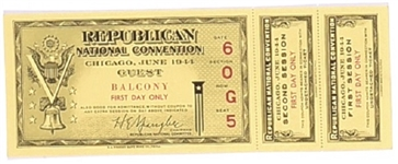 Dewey 1944 First Day Convention Ticket