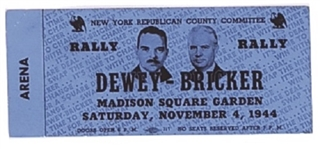 Dewey-Bricker Madison Square Garden Ticket