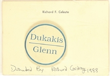 Dukakis, Glenn Pin With Richard Celeste Card