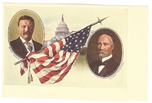 Roosevelt, Fairbanks Flag and Capitol Postcard