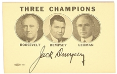 FDR, Dempsey, Lehman Three Champions Campaign Card