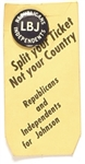 Republicans for LBJ Pin and Split Ticket Card