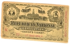 McKinley 1900 Convention Ticket
