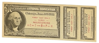Hoover 1932 Convention Ticket With Stubs