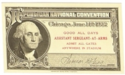 Hoover 1932 Convention Ticket