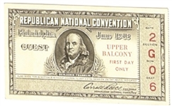 Tom Dewey 1948 Convention Ticket