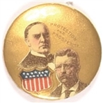 McKinley, Roosevelt Protection and Prosperity Shield Celluloid