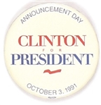 Bill Clinton Announcement Pin