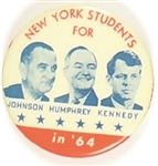 Johnson, Kennedy, Humphrey New York Coattail Orange Version