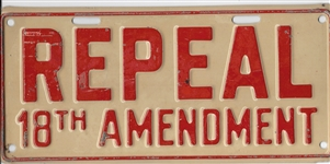 Repeal 18th Amendment License Plate