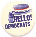 Mayor Richard Daley Hello Democrats 1968 Convention Pin