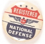 Registered for National Defense WW II Pin